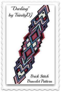 BP-BR-140 - Darling - Brick Stitch Beadwork Pattern, seed bead jewelry, beadweaving tutorial, beaded bracelet, bracelet pattern, jewelry