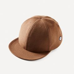 Larose Wool Cap in Dark Camel ❤ liked on Polyvore featuring accessories, hats, flat baseball caps, baseball hats, wool hat, caps hats and flat hat