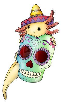 axolotl w/ sugar skull