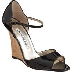 Manolo Blahnik, black patent leather wedge