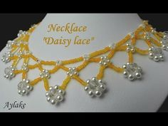 How to make beaded necklace DAISY LACE - YouTube
