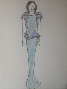 #drawing#girl#fashion#dress#colours#blue#purple#school#homework