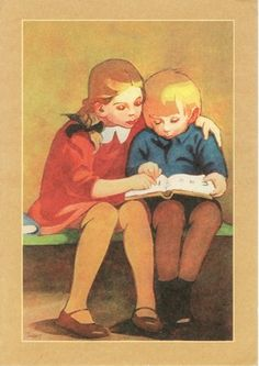 Unknown title by Martta Wendelin Reading Library, Reading Art, Kids Reading, People Reading, Book People, Vintage Children's Books, Vintage Postcards, Books To Read, My Books