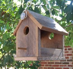 Wooden Bird House Bird Feeder, Reclaimed Natural Weathered Wood Bird Feeder…
