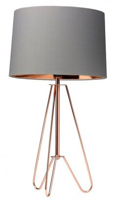 Tripod copper lamp with a grey shade. The metallic copper wire tripod table lamp features a reflective inner copper and grey shade. Copper Bedside Lamp, Copper Lamps, Brass Lamp, Copper Table Lamp, Copper Lighting, Gold Bedroom, Bedroom Lamps, Bedroom Lighting, Bedroom Ideas