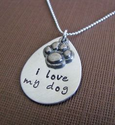 i love my dog or i love my cat necklace - customize with your pet's name