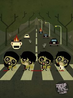 """Zombie Road"" by Daniel Torres. Perfect for a Zombie Beatles 'A Hard Day's Night of the Living Dead' Party. Zombie Life, Zombie Art, Halloween Zombie, Happy Halloween, Halloween Party, Abbey Road, Zombie Attack, Famous Artwork, Zombie Apocalypse"