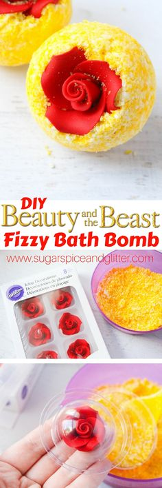 The best DIY Beauty Tips : Illustration Description DIY Belle's Bath Bombs – a fun Disney DIY gift or addition to your Disney movie night. The perfect Beauty & the Beast craft for your ba… Disney Diy, Disney Crafts, Disney Belle, Fizzy Bath Bombs, Homemade Bath Bombs, Diy Spa, Homemade Gifts, Diy Gifts, Beauty And The Beast Diy