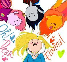 Adventure time fionna x gumball x marshall x flame prince