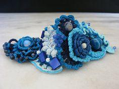 Freeform crochet bracelet Blue crochet cuff bracelet