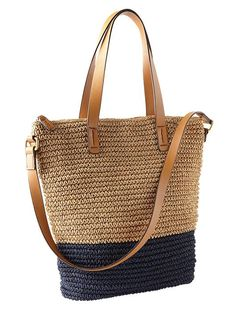 Colorblock Straw Tote