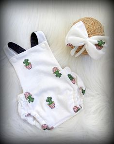 Baby girl romper, photo prop romper, summer romper, Cactus baby romper, bubble romper, summer baby clothes, afflink