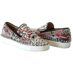 Preowned Christian Louboutin Shoe Snakeskin Graffiti Pik Boat Sneakers... (22,315 MXN) ❤ liked on Polyvore featuring shoes, sneakers, multiple, silver shoes, studded shoes, python sneakers, snake skin sneakers and studded sneakers