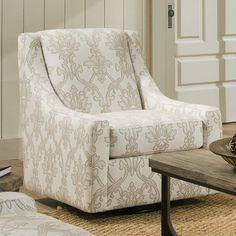 Found it at Wayfair - Pope Applique Snow Swivel Arm Chair
