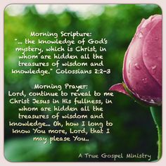 """Morning Scripture: """"... the knowledge of God's mystery, which is Christ, in whom are hidden all the treasures of wisdom and knowledge."""" Colossians 2:2-3 Morning Prayer: Lord, continue to reveal to me Christ Jesus in His fullness, in whom are hidden all the treasures of wisdom and knowledge... Oh, how I long to know You more, Lord, that I may please You.. #morningprayer  #scripturequote #biblequote #instabible #instaquote #quote #seekgod #godsword #godislove #gospel #jesus #jesussaves…"""