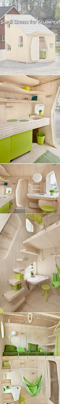 Eco-friendly house made out of wood can be easily transported and installed on university campuses and in other locations.Designed by Tengbom.