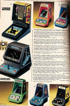 Coleco and Parker Brothers Tabletop Arcade Games Montgomery Ward Christmas Catalog, 1983 Vintage Videos, Vintage Video Games, Classic Video Games, Retro Video Games, Vintage Games, Vintage Toys, Retro Games, Mini Arcade, Retro Arcade
