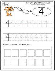 okul öncesi 4 sayısı çizgi çalışması