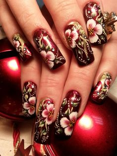 Christmas is in the air. One Stroke Painting, Painting Tips, Gorgeous Nails, Nails Magazine, Nail Inspo, Manicure And Pedicure, Jewelry Art, Projects To Try, Nail Designs