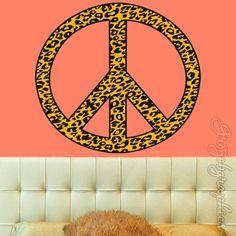 Peace Sign Wall Decal Leopard Print Cheetah Print Girls Room Decor Wall Art Sticker PC5 by VWAQ on Etsy