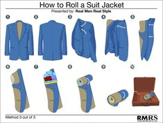 How To Roll A Suit Jacket - Method 3 of 3 - How to properly pack a sport jacket blazer or suit jacket using the folding roll method.