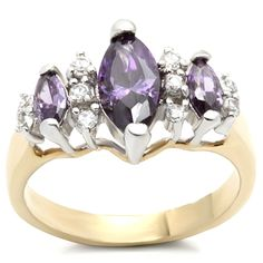 Marquise Cluster Ring 2 Tone Gold plated Cubic Zirconia
