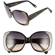 33f3c42bc9a094 Oscar de la Renta  212  56mm Metal Filigree Square Sunglasses Witte Kant