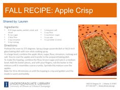 Apple Crisp recipe from Lauren. Cookbook recommendation: True Food : Seasonal, Sustainable, Simple, Pure by Andrew Weil and Sam Fox (http://ow.ly/pSZxP)