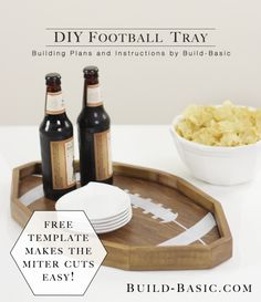 Easy DIY Football Tray comes with a free printable template that can be traced to cut out your own! Diy Organizer, Easy Woodworking Projects, Wood Projects, Unique Woodworking, Custom Football, Walnut Shell, Favorite Pastime, Wood Crafts, Diy Wood