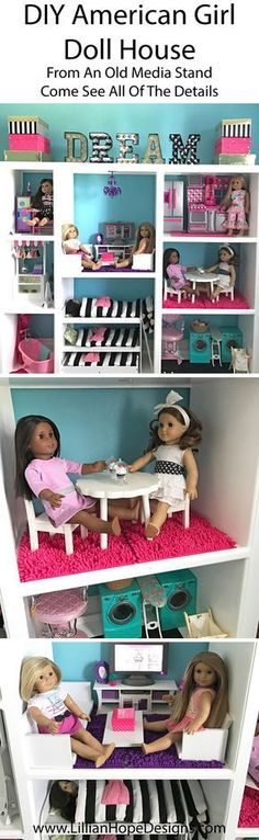 How to make a DIY American Girl Doll house for an affordable price from an old media stand.