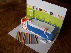 Koupák Autorská koláž z barevných papírů, postprodukovaná v grafickém programu, digitálně vytištěná, řezaná a ohýbaná do finální podoby leporela. Motiv koupaliště. Lze použít jako přání, nebo dekoraci. Formát A5. Papír 250g ve dvou vrstvách.