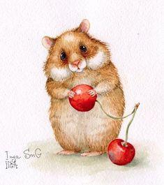 Trendy drawing cute animals mice 46 ideas - My best shares Animals Watercolor, Watercolor Art, Baby Animal Drawings, Cute Drawings, Baby Animals, Cute Animals, Motifs Animal, Pet Mice, Wildlife Art