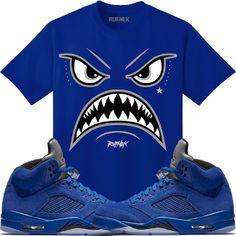 Jordan Retro 5 Royal Blue Suede Sneaker Tees Shirt - WARFACE 09fbc24d5