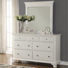 Laveno White Wood 7-drawer Dresser and Mirror