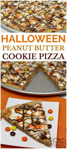 Halloween Peanut Butter Cookie Pizza is topped with marshmallows and Reese's P. Halloween Peanut Butter Cookie Pizza is topped with marshmallows and Reese's Pieces and then drizzled with and orange icing! Fun recipe from Butter With A Side of Bread Halloween Desserts, Hallowen Food, Halloween Food For Party, Halloween Treats, Halloween Halloween, Halloween Cookies, Halloween Food Recipes, Halloween Chocolate, Healthy Halloween