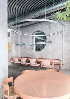 The Casaplata is a modern restaurant in Seville combines an industrial atmosphere with an artsy flair and a delicate design furniture. Architecture Restaurant, Restaurant Interior Design, Cafe Interior, Interior Architecture, Restaurant Interiors, Concrete Architecture, Interior Concept, Room Interior, Commercial Interior Design