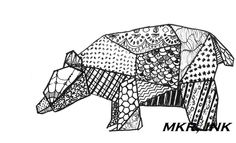 """Origami Bear: 8.5X11"""" digital print of a pen and ink drawing. $12.00, via Etsy."""