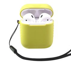 Protective Silicon Cover Sleeve for Air Pods Charging Case With Anti-lost Lanyard. Air Pods, Airpod Case, Apple Products, Iphone Models, Iphone 7 Plus, Headphones, Iphone Cases, Lost, Black And White
