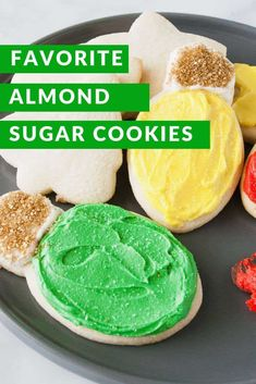 My favorite almond sugar cookies are easy, roll out, cut out sugar cookies! They are delicious with frosting, decorated with icing or topped with sprinkles! Roll Out Sugar Cookies, Chocolate Sugar Cookie Recipe, Almond Sugar Cookies, Sour Cream Sugar Cookies, Chewy Sugar Cookies, Christmas Sugar Cookies, Sugar Cookies Recipe, Baby Cookies, Heart Cookies