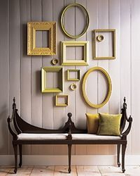 i am a big fan of finding little cutouts and framing them, making lots of little art. usually i am all for making everything look like a work of art, framing napkins, newspaper clippings,  receipts etc. but i am a BIG fan of the empty frame. especially if yellows and greens are involved.