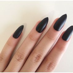 Matte black stiletto nails, hand painted acrylic nails, fake nails,... (19 AUD) ❤ liked on Polyvore featuring beauty products, nail care and nail treatments