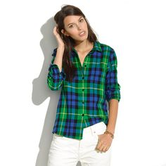 Flannel Boyshirt in Campbell Plaid - boyshirts - Women's SHIRTS & TOPS - Madewell