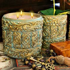Turn simple dollar store items into a beautiful baroque style candle!