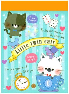 Kamio Little Twin Cats Mini Memo Pad