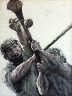 """Iwona Nartowska O'Reiily, Artist: """"Hurling"""" (Hurling is a field sport,native to Ireland,played by two teams of 15 players each) Irish Memes, Irish Art, The Clash, World Of Sports, Brush Strokes, Art Projects, Ireland, Art Gallery, Statue"""