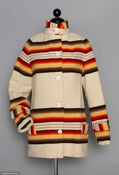 """PENDLETON TOBOGGAN JACKET, 1920s Cream wool melton w/ ombre brown to red stripes, high band collar w/ button strap, 2 low inset pockets, early label """"Pendleton Sport Coats"""", identical coat in red in MET Museum collection, B 34"""", H 40"""", L 29"""", excellent."""
