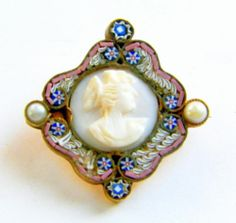Vintage Edwardian Micro Mosaic Cameo Brooch Italy Cameo Jewelry, Jewelry Art, Antique Jewelry, Vintage Jewelry, Vintage Box, Vintage Style, Girly Things, Girly Stuff, Woman Face