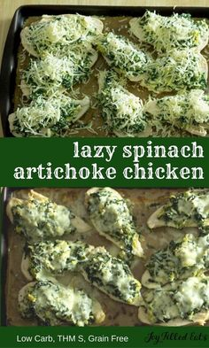 These chicken breasts topped with spinach artichokes & 3 cheeses are low carb grain free gluten free THM S. They are easy on prep but big on flavor. My Lazy Spinach Artichoke Chicken Breasts are easy to prep but big on flavor. They are low carb grai Carb Free Recipes, Thm Recipes, Cooking Recipes, Healthy Recipes, Carb Free Foods, Carb Free Lunch, Sugar Free Recipes Dinner, Carb Free Dinners, Healthy Soup