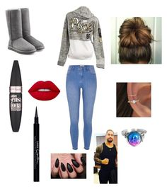 """Winter with Roman"" by alyssaandilovewwe ❤ liked on Polyvore featuring Victoria's Secret, River Island, UGG Australia, Maybelline, Lime Crime and Givenchy"