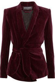 Belted velvet blazer